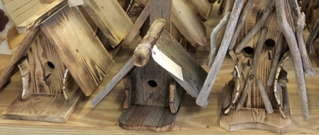 rustic bird houses at Goodman's in Niagara Falls
