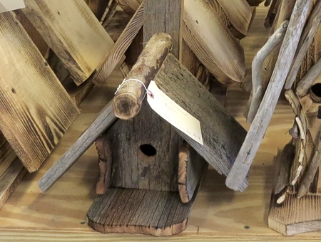 rustic bird houses at Goodman's in Niagara Falls